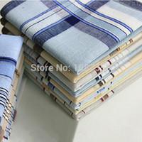 Wholesale 6pcs Cotton Handkerchiefs Men Women cm Pocket Square Plaid Hankerchief Vintage Hankies OFF