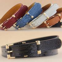 Wholesale novel designs Female Geniue leather real belt crocodile grain waist belt for Lady trend all match cowskin belt