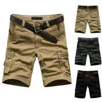 al por mayor trajes de trabajo para los hombres-Venta al por mayor-2014 de la venta caliente del verano del tamaño de los hombres del Ejército Trabajo cargo ocasional de las Bermudas pantalones cortos de los hombres deportes de la manera general escuadra de ajuste de los pantalones Plus