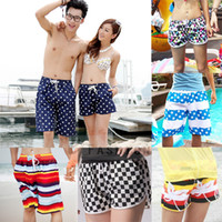 Wholesale Men Women Beach Swimwear Flower Plaid Stripe Star Lovers Couple Swimming Sport Wear Beach Shorts