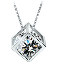 Wholesale 925 Sterling Silver Woman Magic Love Square Shiny Zirconia Crystal Pendant Water Necklace