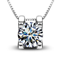 platinum - Fine Sterling Silver Woman Zirconia Crystal cm cm Pendant Water Necklace Wedding Jewelry