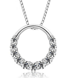 925 Sterling Silver Pendant Necklace Woman 11PCS Zirconia Crystal 1.2cm*1.2cm Round Ring Pendant Water Necklace free shipping
