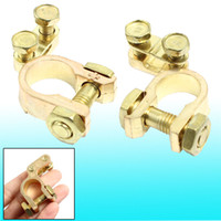 auto battery terminal clip - 1 cm Dia Auto Car Brass Battery Terminal Clips Clamps Gold Tone