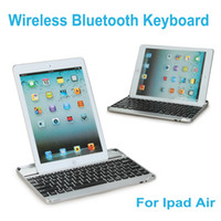 Wholesale thin Intelligent Rechargeable Aluminum Bluetooth Wireless Keyboard Dock Case Stand Battery for Apple iPad Air C1869