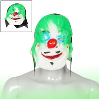 clown nose - Halloween Party Green Faux Fur Red Big Nose Rubber White Clown Mask