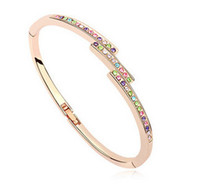 Wholesale Charm Bracelet For Women Colorful Crystal Inlaid Bangles K Champagne Gold Filled Trendy Jewelry Pulseiras Femininas