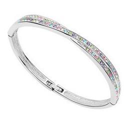 Cristales checo pulseras en venta-Pulsera brazaletes para las mujeres hechas con cristales Preciosa Checa 18K oro blanco lleno de joyas de moda joyas 6826