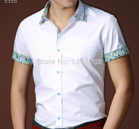 Wholesale 2014NewDesign Short Dress Shirts FreeShip Casual Men Business Dress Cotton Tun downCollar Soid White Slim Costume TeeCoat Blusas WS032