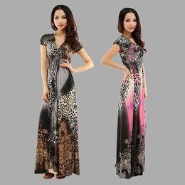 New Summer Fashion Leopard Print Bohemian Silk Long Mix Dress Women Sexy V Neck Beach Dresses XXL sobretudo feminino