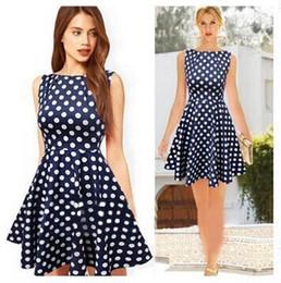 hot sale new women latest dress designs vintage elegant navy blue polka dot pleated sexy mini polk-dot petite dresses to party