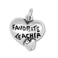apple teacher - Vintage Favorite Teacher Stamped On Heart Shape Charms With Apple Raised For Teacher s Day AAC147