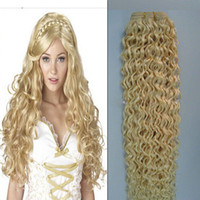 Wholesale Curly European Color 613 - 1 pcs Lot Blonde European Virgin Human Hair Weaving Color 613# Double Drawn Jerry Curly Remy Human Hair Extension Free Shipping
