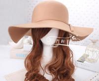 Wholesale New Arrival RetroStyle Women Lady Wide Brim Wool Felt Bowler Fedora Hats Floppy Cloche Hot