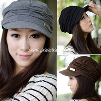 Wholesale Women s Korean Style Pleated Peaked Cap Knitted Hat Sun hats Colors