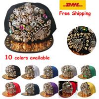 Cheap Wholesale-DHL FREE SHIPPING~10pcs lot~Leopard Rhinestone Stud Baseball Caps Rivet Spikes Snapback Button Cheetah Adjustable Hats~10 colors