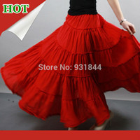 Cheap Hot sale 5 tiers stitching Gypsy Bohemia BOHO full circle cotton dance red Spanish pleated Long high waist Maxi skirts for Women