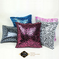 Wholesale hot style leapord sequin dark pink and black square cushions display hotel cushion cover pillowcase pillow cover cushion case