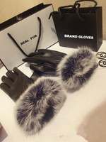 Wholesale 2014 High fashion top quality brand Outdoor winter warm ladies leather gloves real rabbit fur Mittens guantes de inviero luvas