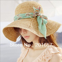 Cheap Wholesale-Fashion Women Wide Large Brim Floppy with chiffon bow Summer Beach Sun Straw Hat Cap with big bow Free Shipping