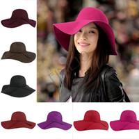 Prezzi Wool hat-All'ingrosso-più poco costoso dei cappelli di Sun delle donne Vintage Black Wide Brim Lana Feltro Bowler Fedora cappello floscio Cloche cappelli della spiaggia # 6 SV004510