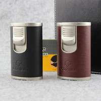 Wholesale High Capacity COHIBA Torch Jet Flame Cigar Leather Lighter Cigarette Cigar Smoking Pipe Butane Gas Lighter