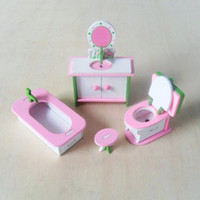Wholesale W003 New children gift kids wooden toy Furniture doll house set DIY Educational Toys bathroom set