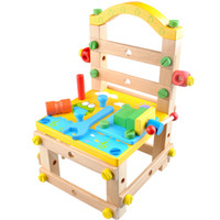 Wholesale Child wooden toy multifunctional work chair lubanjiang chair work table