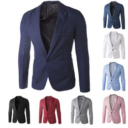 Wholesale-New Arrival Single Button Leisure Blazers Men Male 2014 Korean Fashion Slim Fit Casual Red Navy Blue Blazer Clothing M-XXL