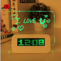 Wholesale LED background projection desktop light Digital Alarm Clock With Message Board Calendar Thermomete gadgets cool Clocks