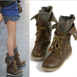 Wholesale Moto Martin Vintage bottines gros pour les femmes féminin hiver tricot bottes de neige bottes en cuir des chaussures et des appartements XWX093 taille