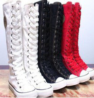 Wholesale hot sale fashion women Canvas Boots Knee High Sneakers lady motorcycle boots size White Black red A105
