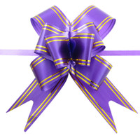 Wholesale 10 Purple Gold Tone Satin Pull Bow Ribbons for Gift Packing