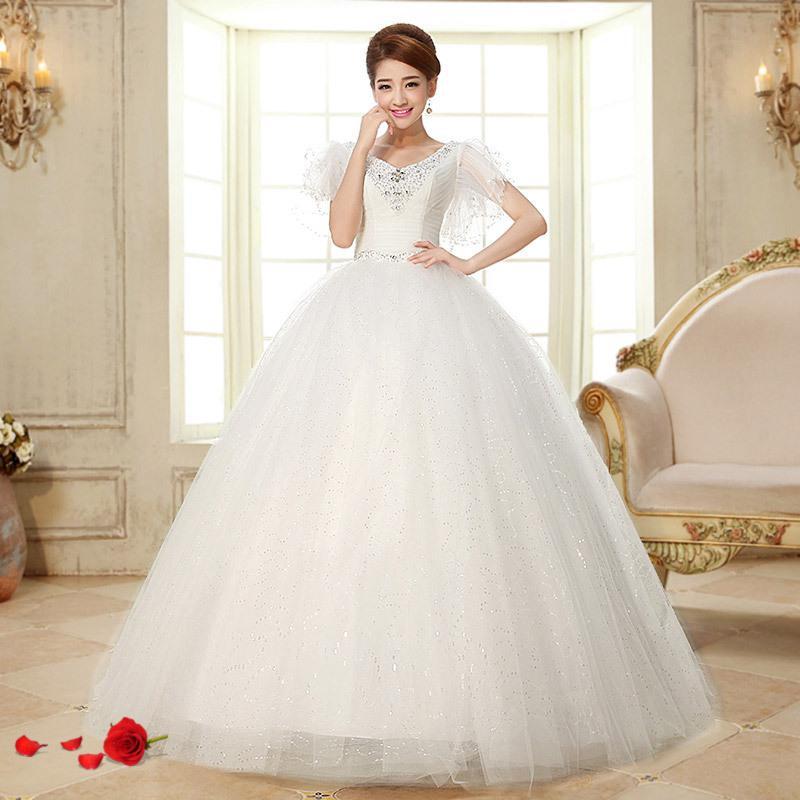 2 015 новый зимний свадебное платье Прибытие кружева бюстгальтер ремни в Принцесса Бабочка с короткими рукавами