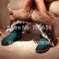 big leg women - Free Shopping New Women s Big Size High leg Fur Tassel Boots Round Toe Flat Heel Shoes Autumn Winter Snow Boots
