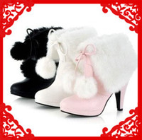 Wholesale large size Hot fur inside leather fashion knight sexy high heel ankle boots for women and woman winter shoes Y10244F