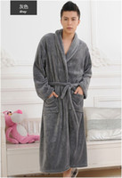 Wholesale Winter Explosion Models Hot men s Flannel Pajamas Thick Coral Velvet Robe Bathrobe Home Service