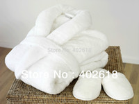 bathrobes slippers - Set Bathrobe Men Robe women Dressing Gown Ivory Color Robes A Pair of slippers