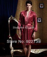mens sleepwear - spring Mens solid Kimono Satin silk Bathrobe robe sleepwear Male sexy dressing gown underwear l xxxl freeshipping