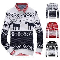 Wholesale New Fahion Winter Warm Wool Knitted Mens Ugly Christmas Deer Sweater Crewneck Long Sleeve Reindeer Pullover Knitwear M XXL