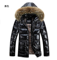 Cheap Winter Hot! Thick Mink Fur Collar Warm Coat Bright Fabrics Middle Jacket Outwear Black\Blue\Red Overcoat 86%White Duck Down 456e