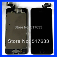 Cheap Wholesale-Black LCD display+Touch Screen Digitizer+Home Button+Frame+front camera full Assembly for Iphone 5S Replacements,free shipping