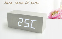 Wholesale Fashion LED Wooden Clock RectangleDigital Wood Alarm Clock Desktop Modern Office WHITE CASE WITH WHITE LED LIGHT