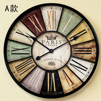Wholesale Home decor wall clock antique style cm amp cm Large mute iron crafts vintage old wall watch with roman character