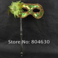 Wholesale on sale gold fabric coated flower party mask on stick Venetian masquerade Halloween cosplayfancy dress opera eye mask
