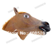 Wholesale Creepy Horse Mask Head Halloween Party MasksTheater Prop Novelty Latex Rubber Brown