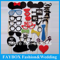 Wholesale set Funny Mask Wedding Party Decoration Photography Photo Booth Bow Tie Glass Prop mustache on a stick supply