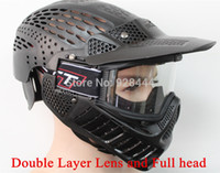 Wholesale Double Layer lens and full face Paintball Mask CS Games for paintball accessories amp equipment Green or Black