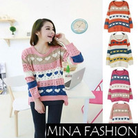 Wholesale New Sweater For Women Fashion Love Printed Sweaters Hearts Stripe Knitted Crochet Pullover Plus Size