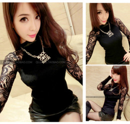 Wholesale-Free Shipping 2014 new tricotado women's sexy bodycon tunic lace crotchet long sleeve knitted sweater turtleneck pullover